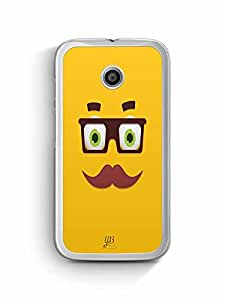 YuBingo Smiley with Glasses and Moustache Designer Mobile Case Back Cover for Motorola E2