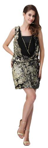 jessni jp2038-16 Evening Dress Gorgeous Style Cowl neck Strapless Back Zip Decorative Sequins mini Sheath Multicoloured