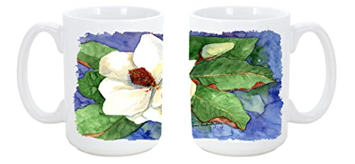 Caroline'S Treasures Flower - Magnolia Dishwasher Safe Microwavable Ceramic Coffee Mug 15 Ounce Kr9035Cm15 Made Or Printed In The Usa