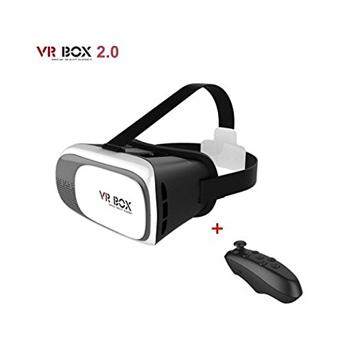 WINNERHOME 3D Gear VR Glasses Virtual Reality Headsets VR Box 3D VR Virtual Reality Headset 3D Glasses VR BOX for iPhone6/SamsungGalaxy/ ios Android smartphone(white) with Gamepad Remote Controller