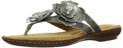 Clarks Women's Brisk Dahlia Thong Sandal,Silver,6.5 M US