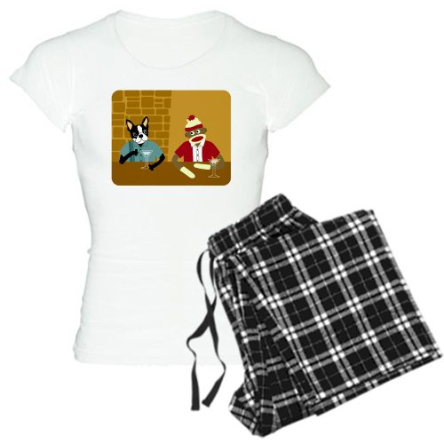 CafePress Boston Terrier Sock Monkey Women's Light Pajamas Women's Light Pajamas
