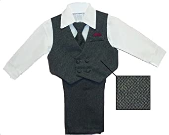 Toddler Boys Grey Tweed Dress Slacks Set , Shirt, Tie, Vest (Toddlers 2T)
