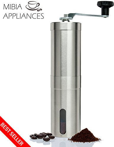 The Mibia Manual Coffee Grinder- Superior Burr Design for Consistently Brewing Espresso, Pour Over, French Press & Turkish Coffee - Hand Crank Mill with Adjustable Ceramic Conical Burr
