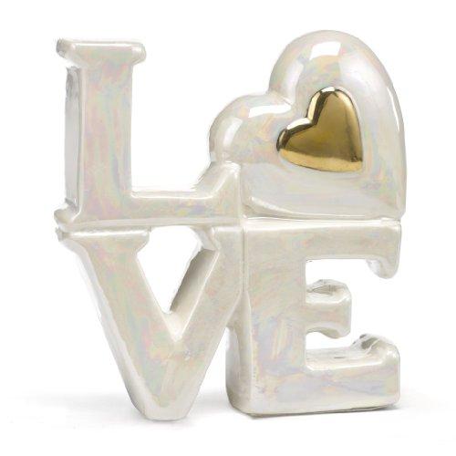 Hortense B. Hewitt Porcelain Love Cake Tops Wedding Accessories, Gold