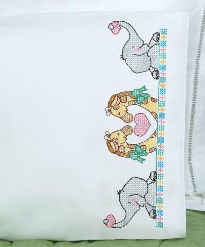 Children'S Stamped Pillowcase With White Perle Edge 1/Pkg-Noah'S Ark
