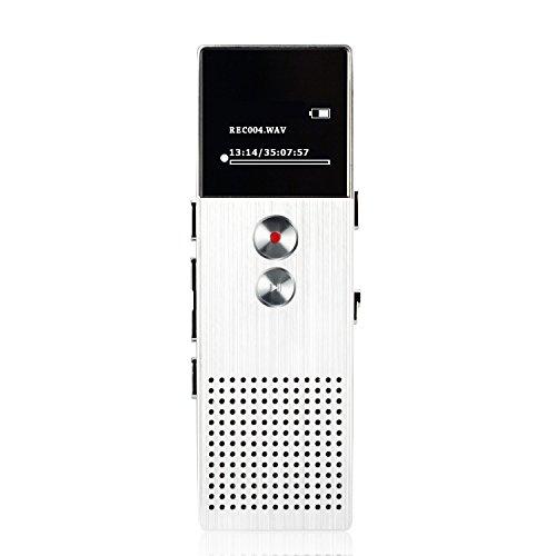 AGPTek M23- HD Registratore Vocale digitale 8 GB, lettore MP3 funzione di altoparlante e FM radio, Argento
