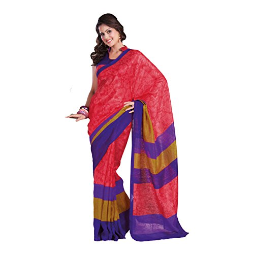Aesha Red Silk Saree With Blouse Piece