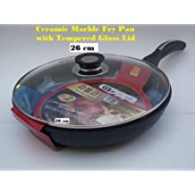 Ceramic Marble Coated Non Stick Cast Aluminium Fry Pan With Lid, 26 Cm (10 Inches)