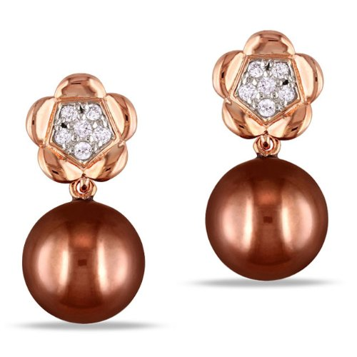 Sterling Silver, Pink Rhodium Plated, Diamond and Brown Pearl Pendant Earrings, (.07 cttw, GH Color, I2-I3 Clarity)