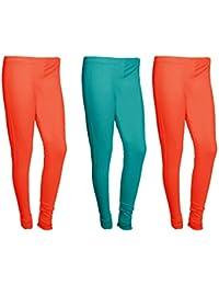 Indistar Women Cotton Legging Comfortable Stylish Churidar Full Length Women Leggings-Red/Turquoise-Free Size-Pack...