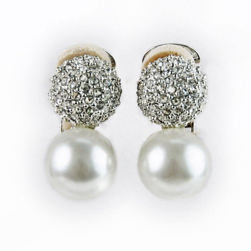 Kenneth Jay Lane Pearl and Pave Ball Earrings Clip On