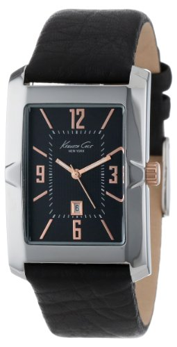 Kenneth Cole New York Men's KC1935 Classics Tank Analog 3 Hand Date Dimensional Bezel Strap Watch