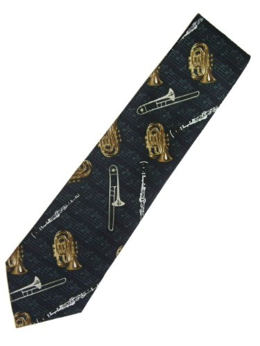 Navy Blue Neck Tie with Band Instruments ~ Great necktie for musicians or music teacher