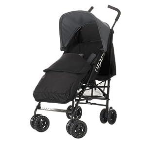 Obaby Atlas Black/Grey Stroller and Black Footmuff (Grey)