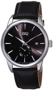 ESQ Movado Men's 07301371 Chronicle Black Leather Strap Black Round Dial Watch