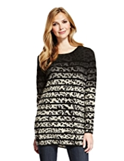 M&S Collection Pure Cashmere Striped Animal Print Knitted Tunic