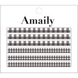 アメイリーネイルシール Amaily ネイルシール No.5ー5 ギンガムチェック 黒