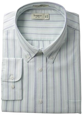 Haggar Men's Regular Fit Pinpoint Oxford Long Sleeve Pattern Dress Shirt, Mint, 15(32/33)