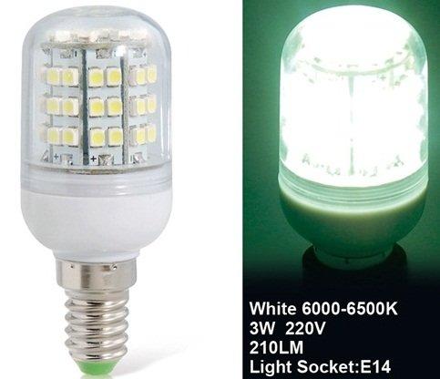 True 3W E14 220V 48 X 3528 White Led Corn Bulb
