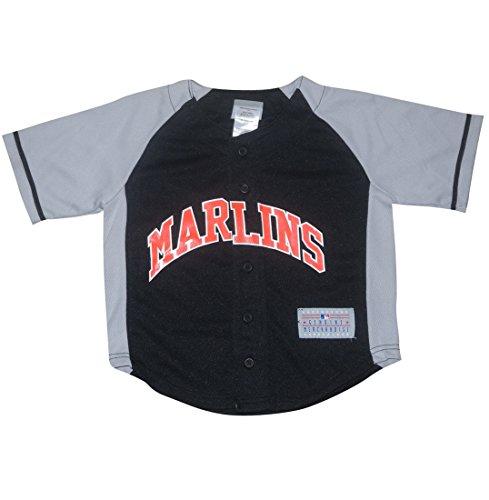 Mlb Miami Marlins Ramirez #2 Boys Button Down Baseball Jersey Xs(4/5) Black & Grey front-1004248