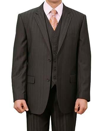 Elegant Men's Two button Three piece Strip Suit (38Short, Black)