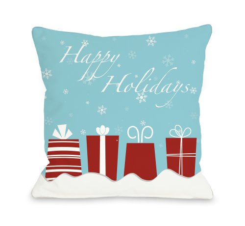 Bentin Home Decor Happy Holidays Presents Throw Pillow by OBC, 18