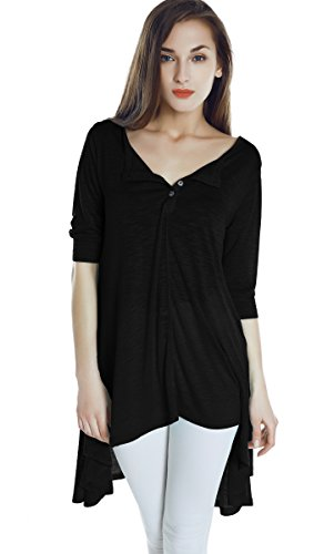 Women's Half Sleeve High Low Loose Casual T-shirt Top Tee Dress (X-Large, Black)