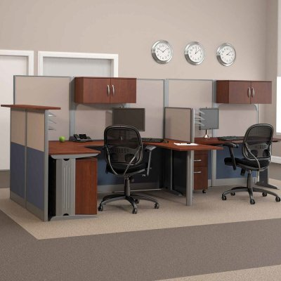 Buy Low Price Comfortable Bush Office-in-an-Hour Melamine U-Shaped Double Workstation Computer Desk with Reception – BHI679 (B003LRCXIQ)
