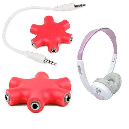 """Duragadget Bright Red 5-Way Headphone Splitter """"Star"""" For Leapfrog Explorer Headphones"""