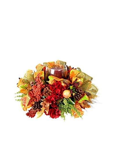 Creative Displays Fall Harvest Candle Centerpiece with Mixed Fruit, Green Heather, Astilbe & Natural...