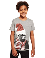 Cotton Rich Monkey Santa Design T-Shirt