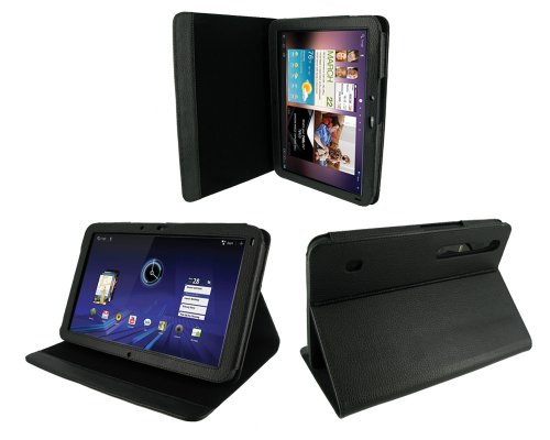 rooCASE Multi-Angle (Black) Leather Folio Case Cover for Motorola XOOM Android Tablet