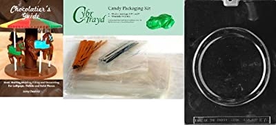 Cybrtrayd 'Pizza Kids' Chocolate Candy Mold with Chocolatier's Bundle of 50 Cello Bags, 25 Gold and 25 Silver Twist Ties and Chocolate Molding Instructions