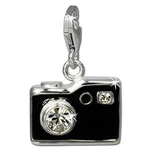 SilberDream exclusive Charms - Charm appareil photo noir en argent Charm pour charmes colliers et bracelets - Argent 925 Sterling - FC819S