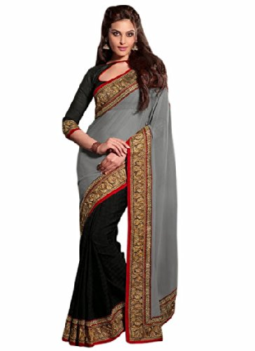Aasri Women Jute Silk and Faux Georgette Wedding Saree with Blouse Piece
