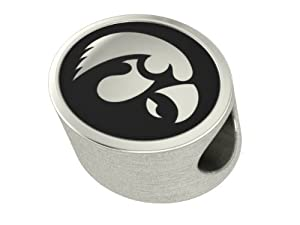 Iowa hawkeyes antiqued bead fits most pandora for How much does pandora jewelry pay