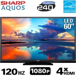 Reviews 60 Sharp Aquos LED LCD 1080p AquoMotion 240 HDTV w/ Wi-Fi 
