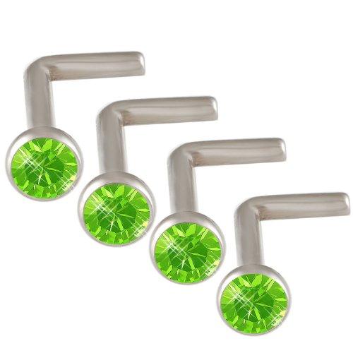 18g 18 gauge 1mm 7mm Steel nose rings studs screws bones bars Peridot Crystals DAGB Body Piercing Jewellery 4Pcs