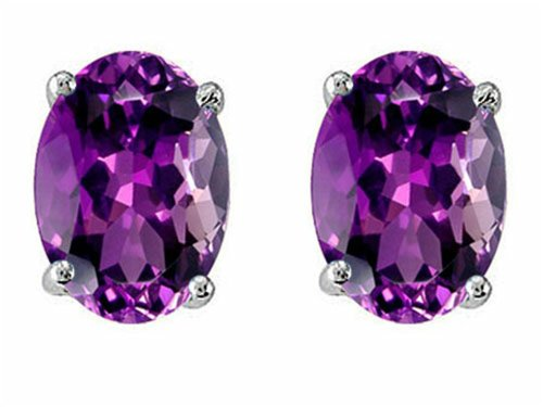 Star K Oval 8x6mm Simulated Amethyst Earring Studs Sterling Silver: Star K: Jewelry