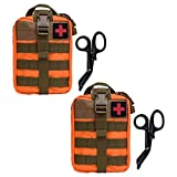 Krisvie Tactical EMT Medical Pouch 1000D Nylon Utility Bag with First Aid Patch and Shear (Orange 2Pack) (Color: Orange 2Pack)