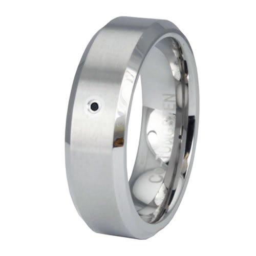 Beveled Edge Superior Cobalt Ring Wedding Band w/ Black Diamond