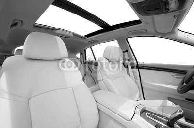 "Wallmonkeys Peel and Stick Wall Decals - Seats and Panarama Window in Modern White Sport Car, Back View - 24""W x 16""H Removable Graphic"