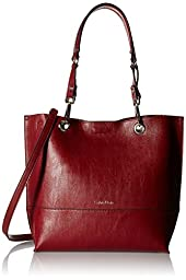 Calvin Klein Novelty Reversible North/South Tote, Valentine/Brown