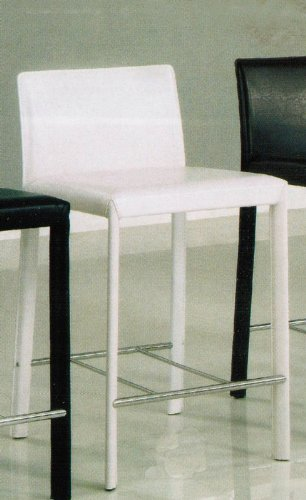 Set Of 2 24 Quot H Counter Height Stools White Leather Like