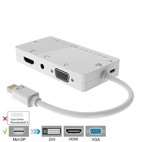 Mini DP Adattatore, CableDeconn 4-in-1 Mini Displayport (Compatible Thunderbolt) to Hdmi/dvi/vga Adattatore Converter Cavo with Audio Output for Apple Macbook Air Pro Microsoft Surface Pro Supports 3 Monitors At the Same Time