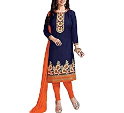 Neets Fashion Women's Cotton Semi Stitched Dress Material(GAU-Vol-21-05_Blue)