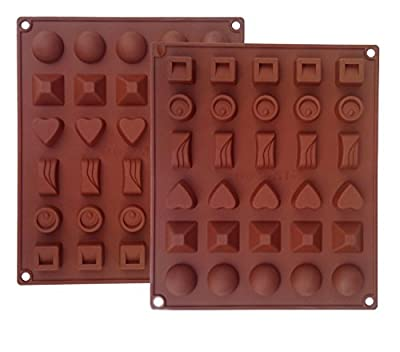 Ozera Silicone Chocolate, Jelly and Candy Mold, Cake Baking Mold, 30-Cavity, Set of 2, Brown