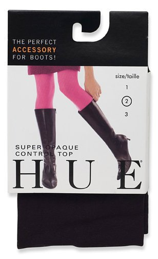 HUE Women's Super Opaque Control Top Tight, Black, Size 2