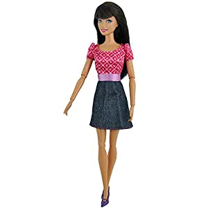 Teenitor® 5pcs Fashion Mini Dress For Barbie Doll Handmade Short Party Gown Clothes